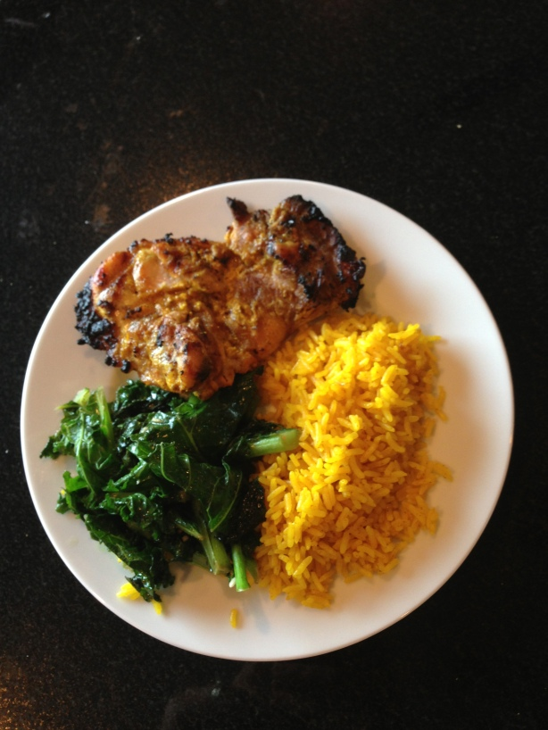Quick Tandoori Chicken Thighs, Yellow Jasmine Rice, Fried Kale
