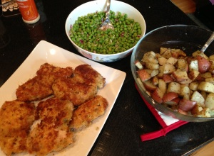 Pan-Seared Chicken Thighs, Pea Salad, Grilled Potatoes