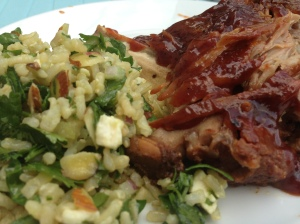 Crock Pot BBQ Ribs & Spinach Salad with Rice