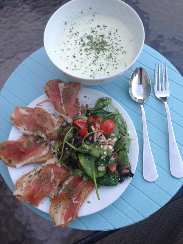Chilled Cucumber Soup, Prosciutto & White Bean Spread on Toast, Tossed Salad
